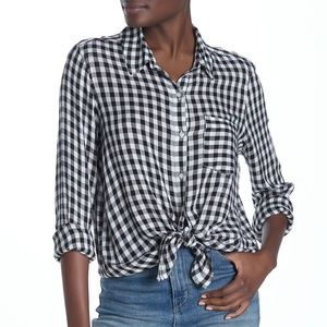 NORDSTROM Abound Weekend Tie Front Shirt Check
